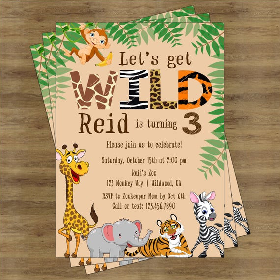 safari birthday invitation jungle