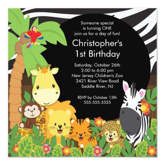 cute safari jungle birthday party invitations 161196226439414393