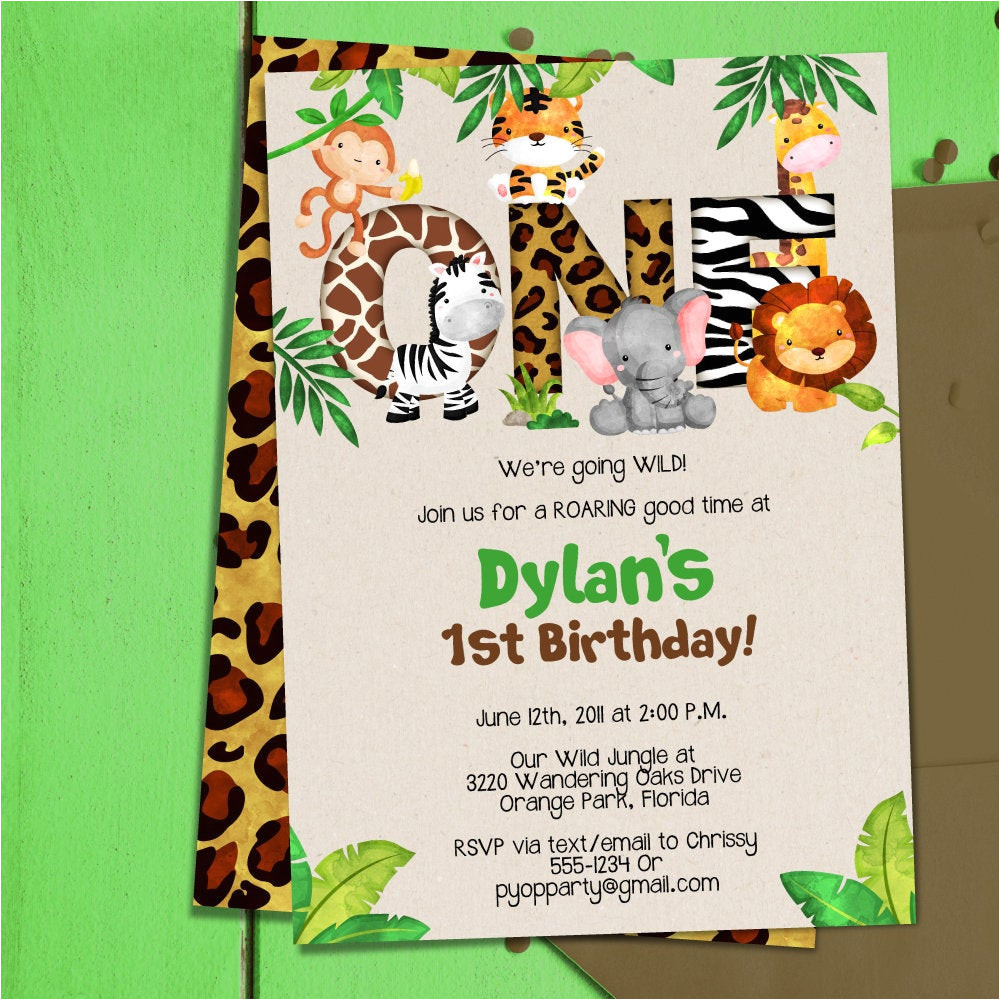 jungle 1st birthday party invitation