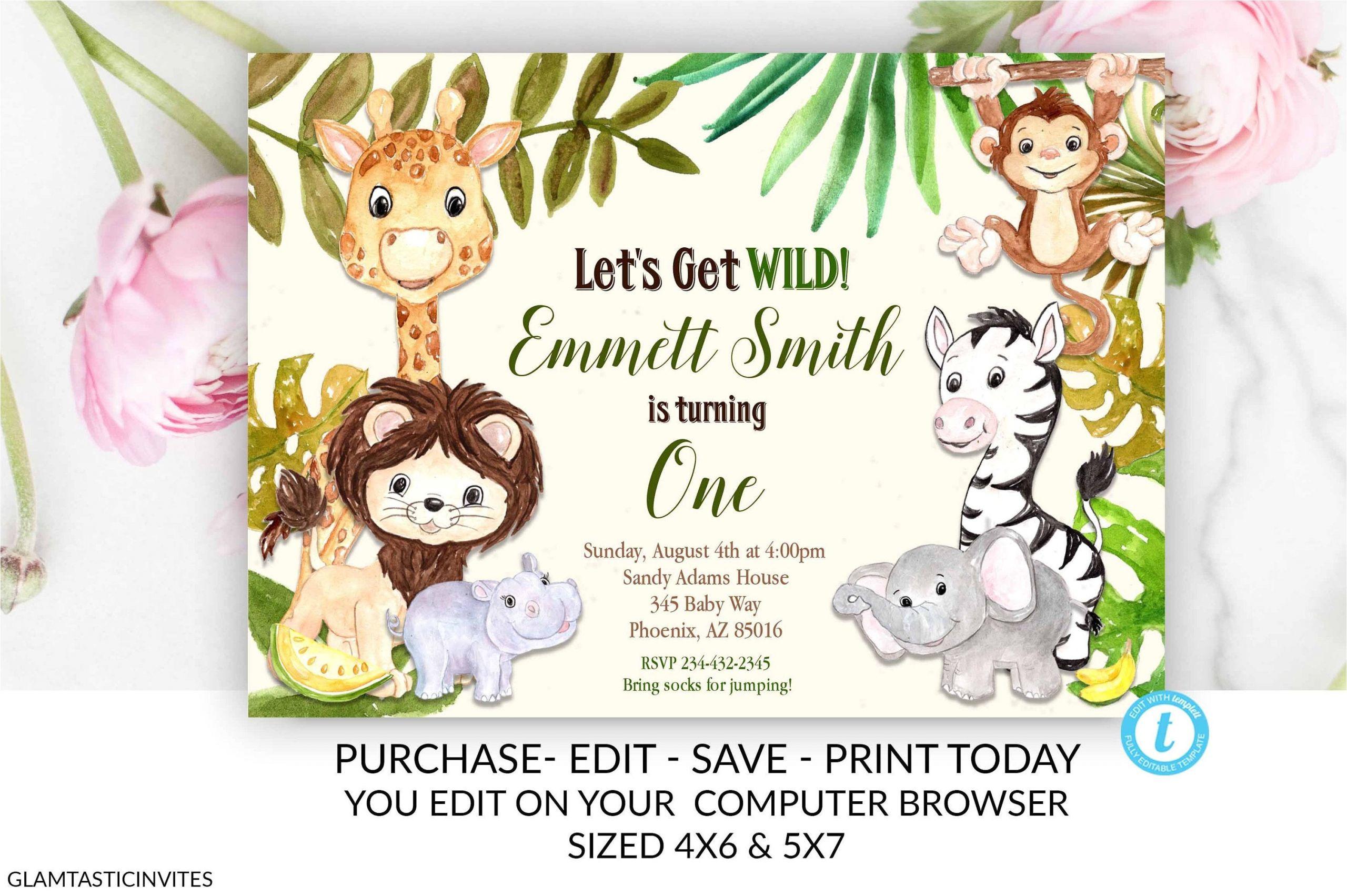 zoo birthday invitation template safari