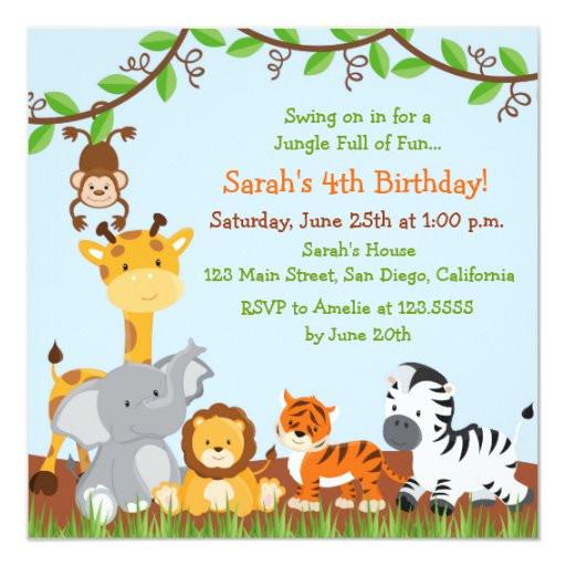 cute safari jungle birthday party invitations 161909566393218573