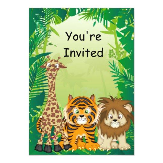 jungle theme birthday invitations 161286497536707537
