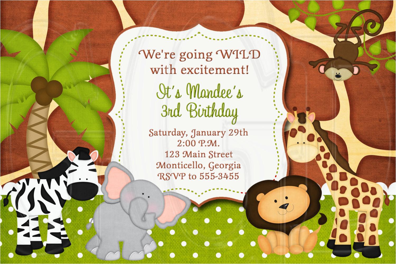 jungle zoo safari birthday invitation or