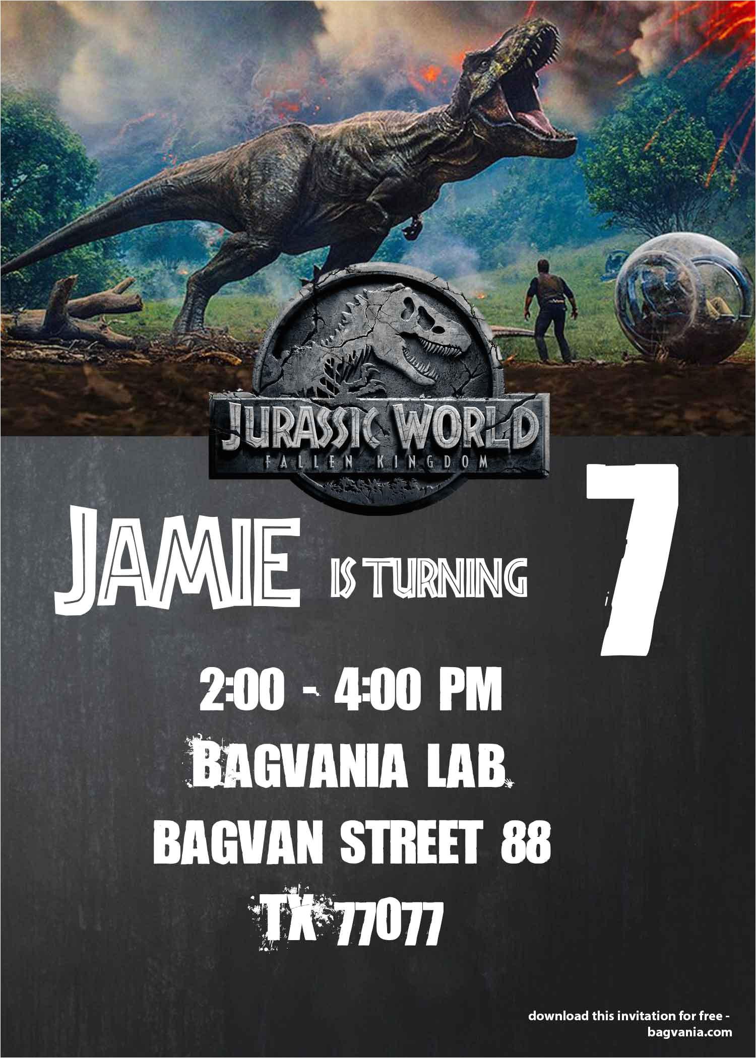 jurassic world fallen kingdom birthday party ideas free invitation included