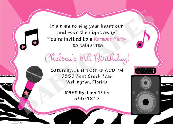 karaoke party birthday invitation diy