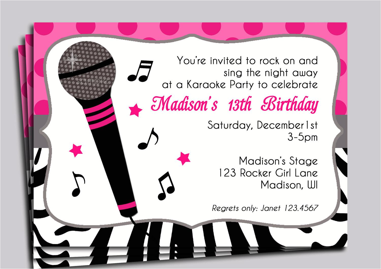 karaoke party invitation printable sing