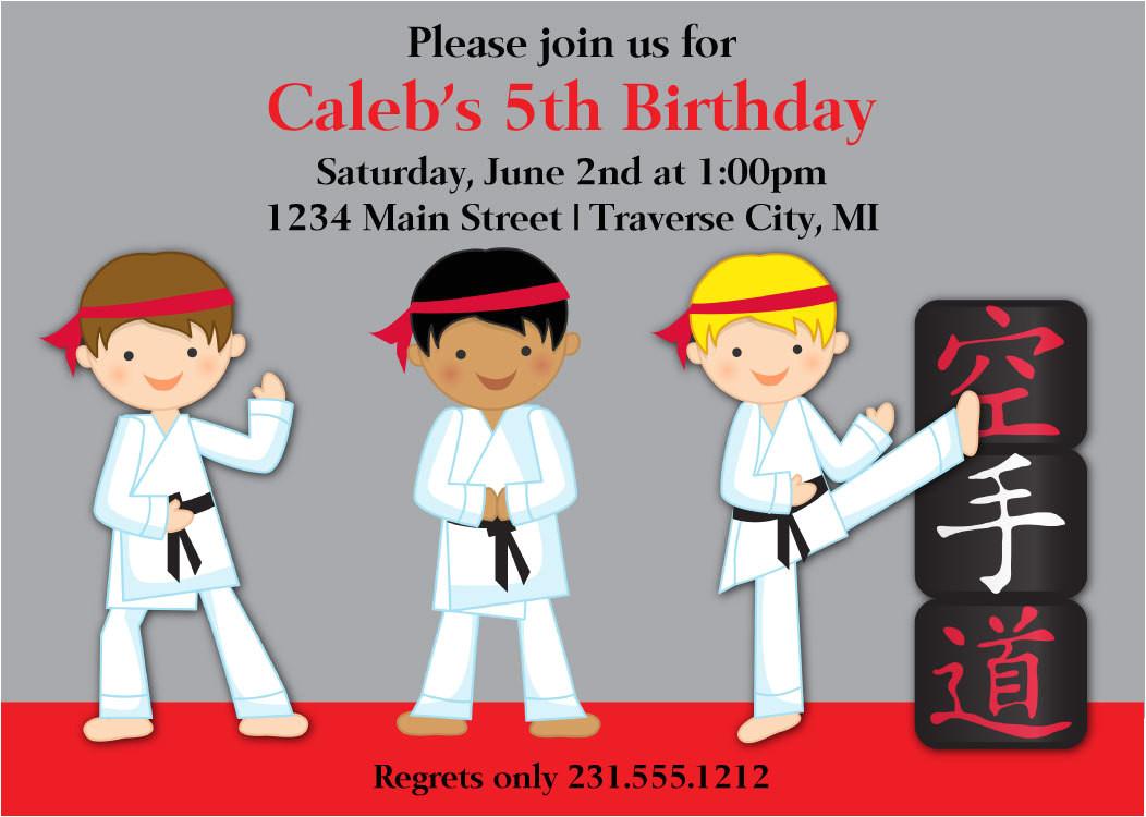 karate birthday invitations for kids