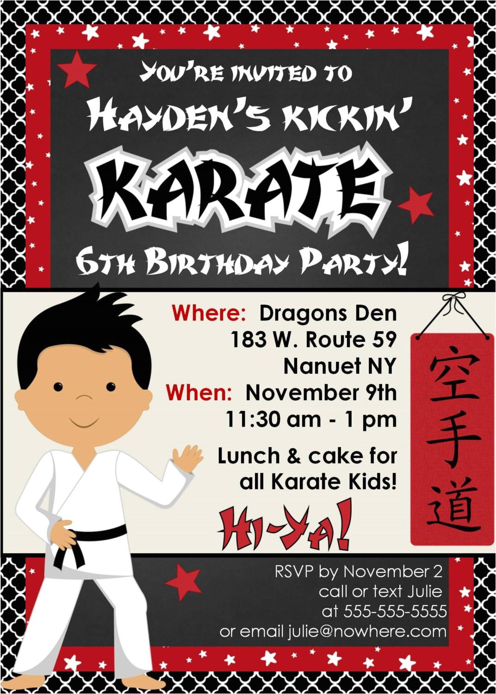 karate birthday party invitation