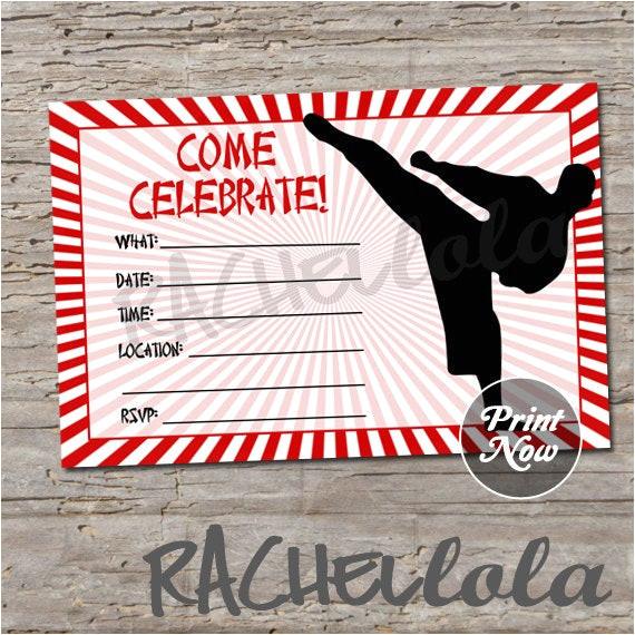 karate birthday invitation print digital print