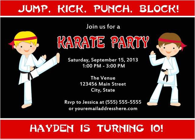 karate birthday party invitations