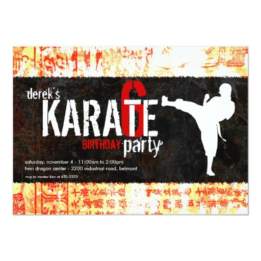 karate party invitation 161612234676089191