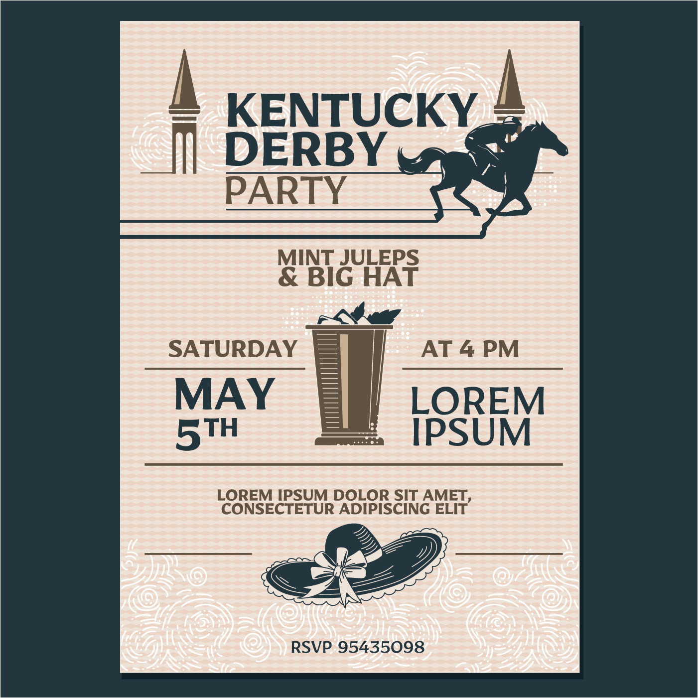 194958 kentucky derby party invitation classic style with geometroc pattern background