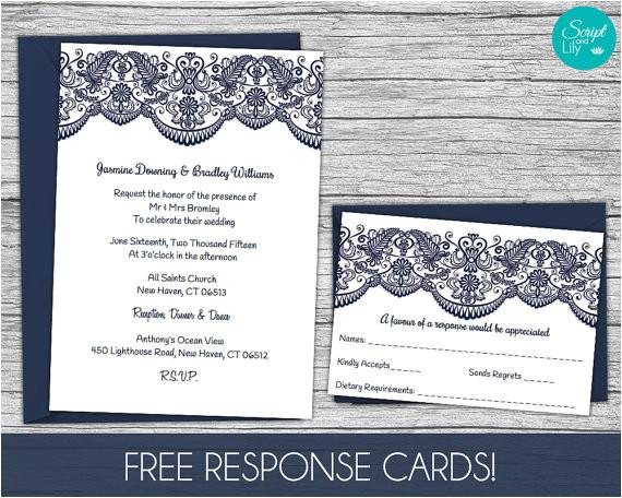 lace wedding invitation template free