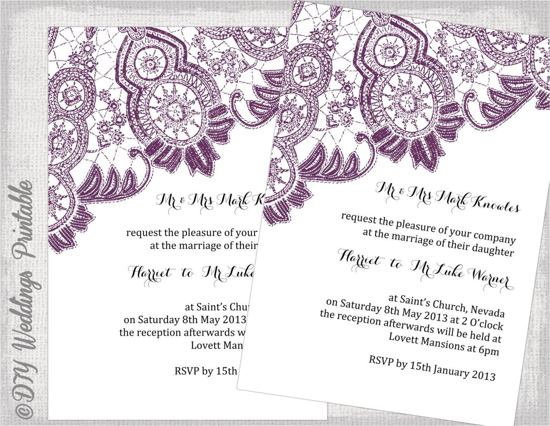 lace wedding invitation template plum
