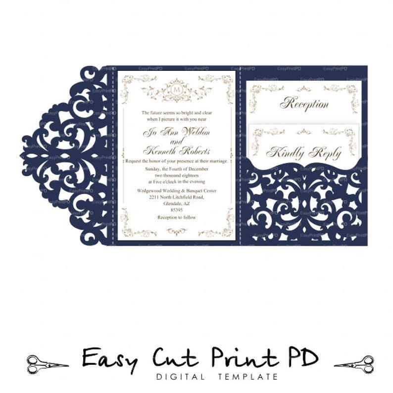 wedding invitation set of tri fold lace