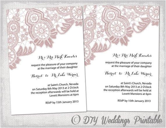 wedding invitation template antique lace