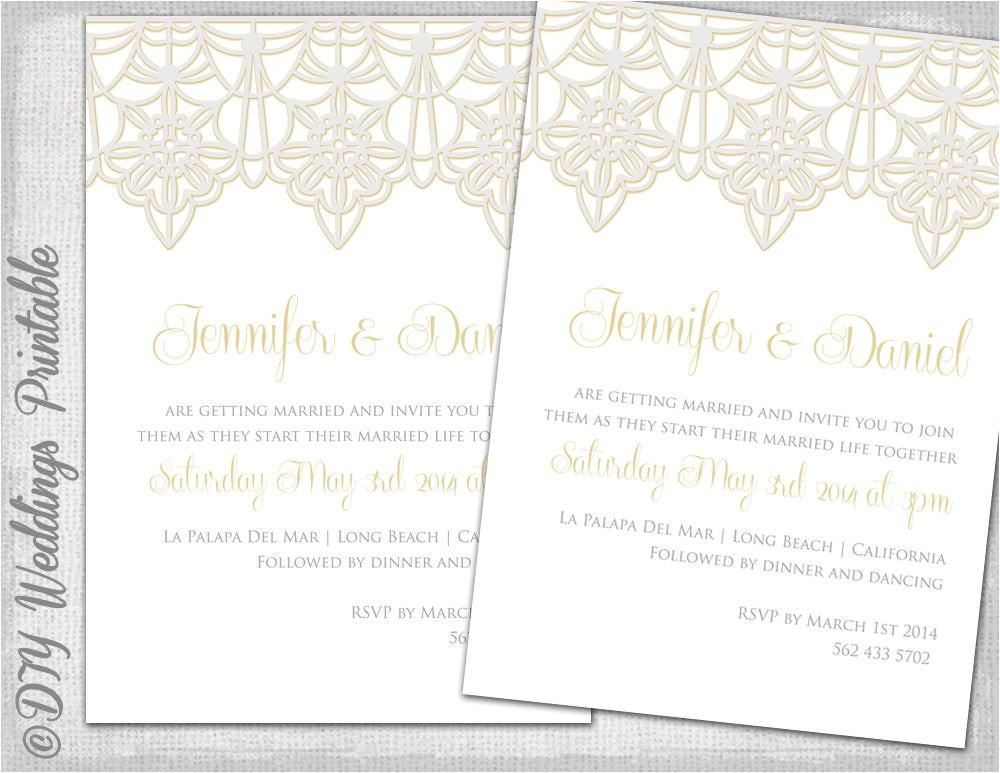 wedding invitation template lace trim