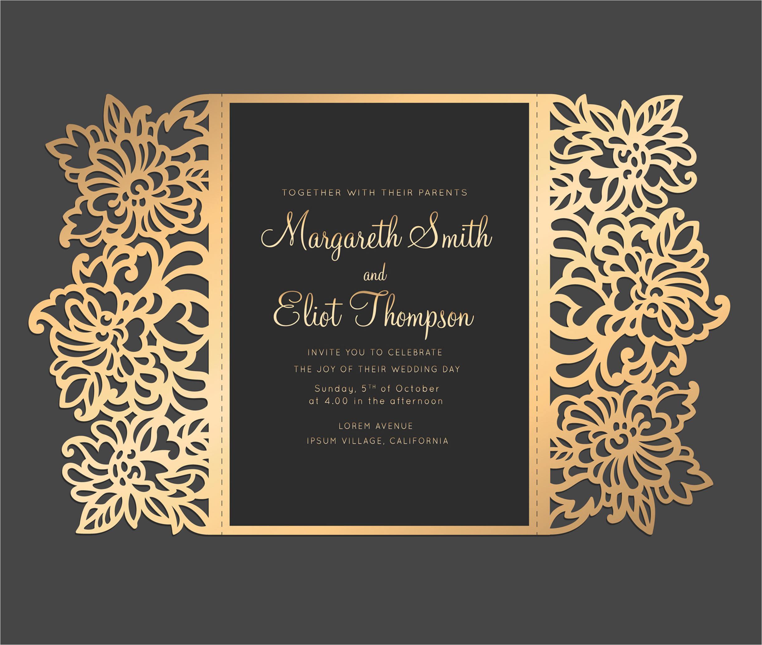 floral laser cut wedding invitation 5x7