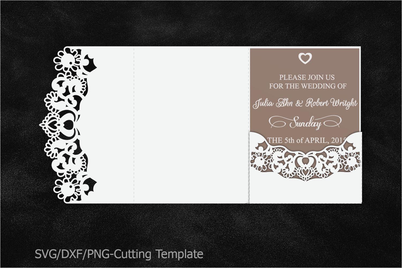 104304 lace wedding invitation template laser cut pocket invitation