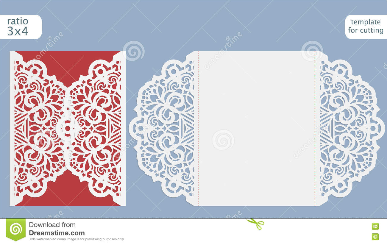 stock illustration laser cut wedding invitation card template cut out paper card lace pattern greeting card template cutting plotter image77898428