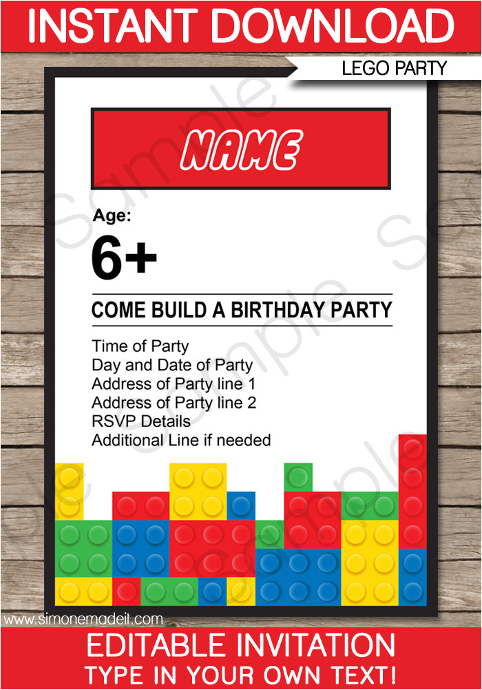 lego party invitations printable