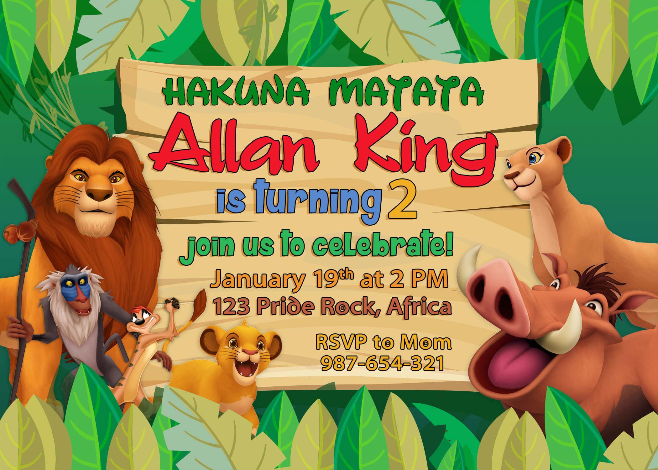 5r lion king birthday invitation