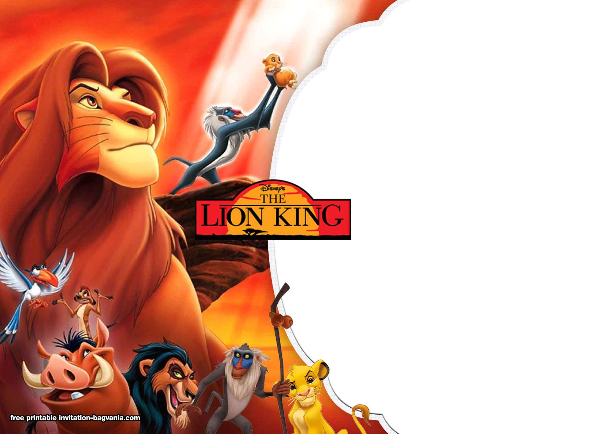 free lion king invitation templates