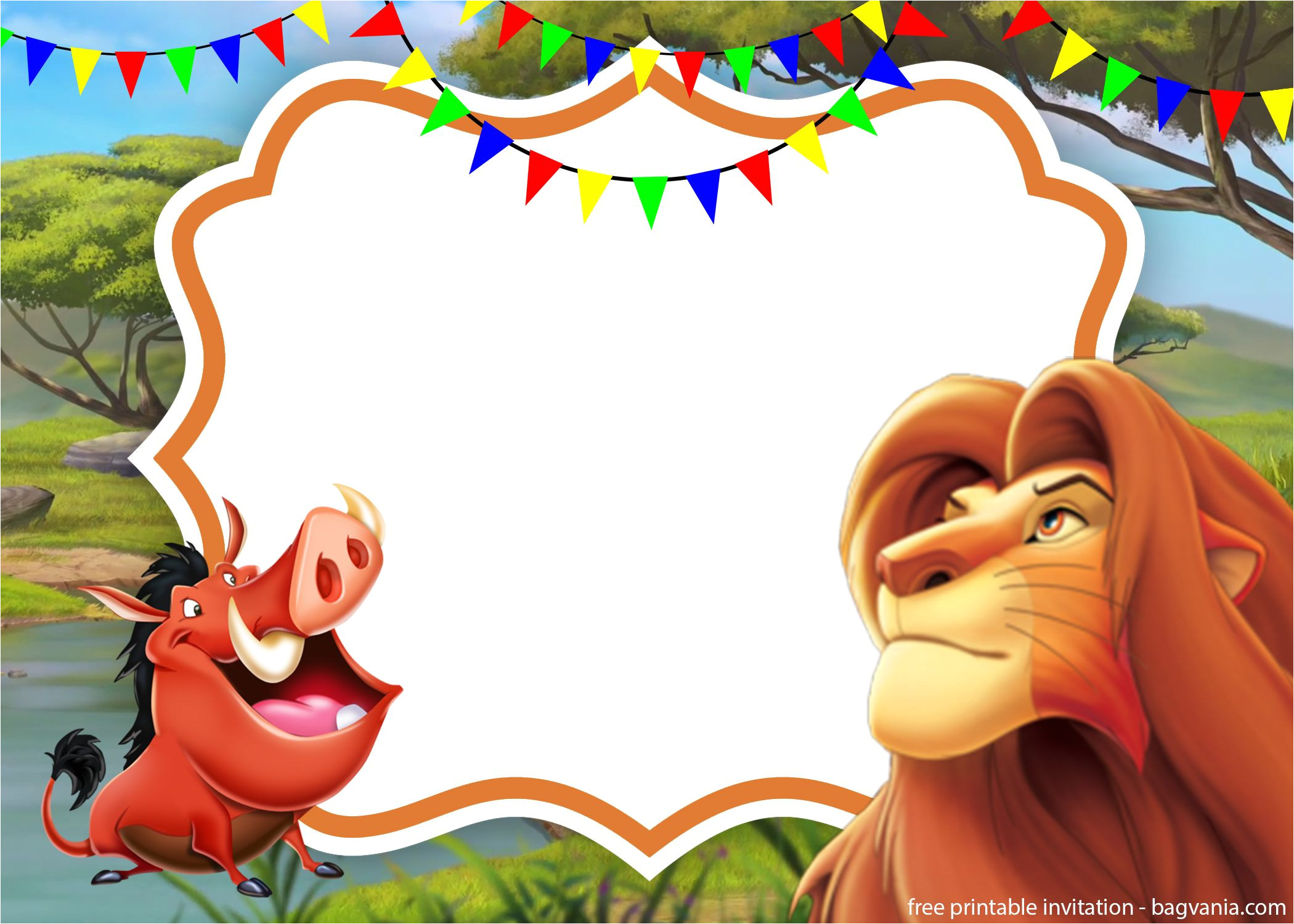 simba lion king invitation template perfect for parties in the yard