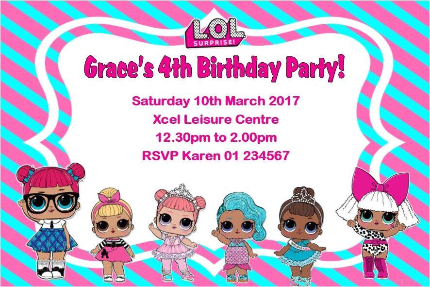 personalised lol surprise dolls invitations 5404 p