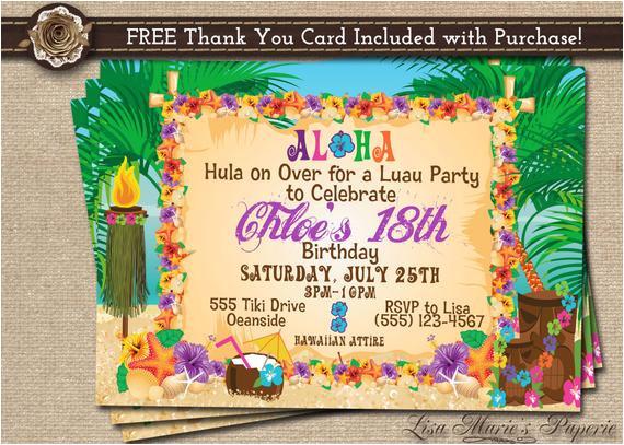 hawaiian party invitation luau birthday