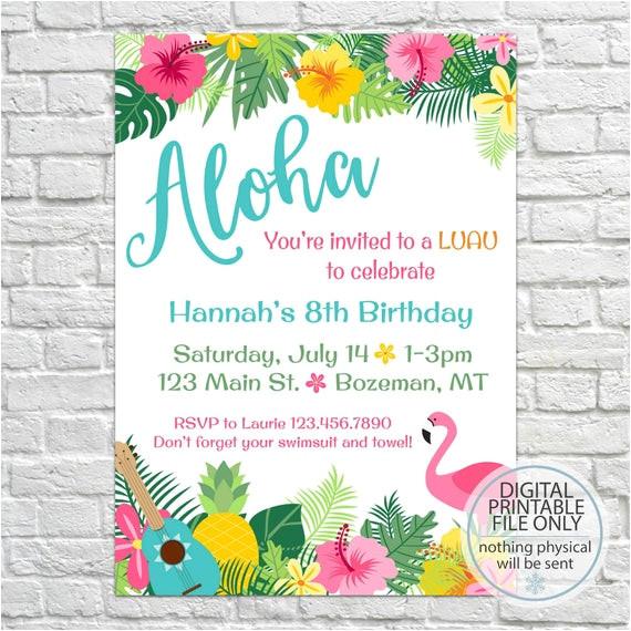 luau birthday invites aloha pineapple