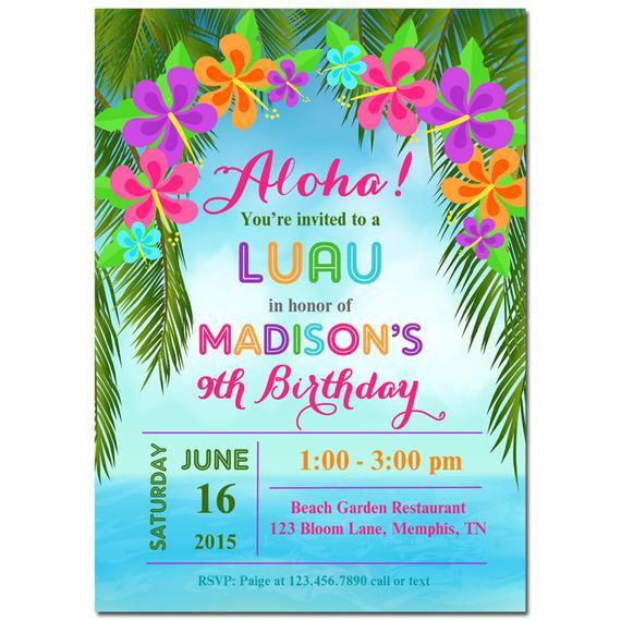 luau invitation printable or printed