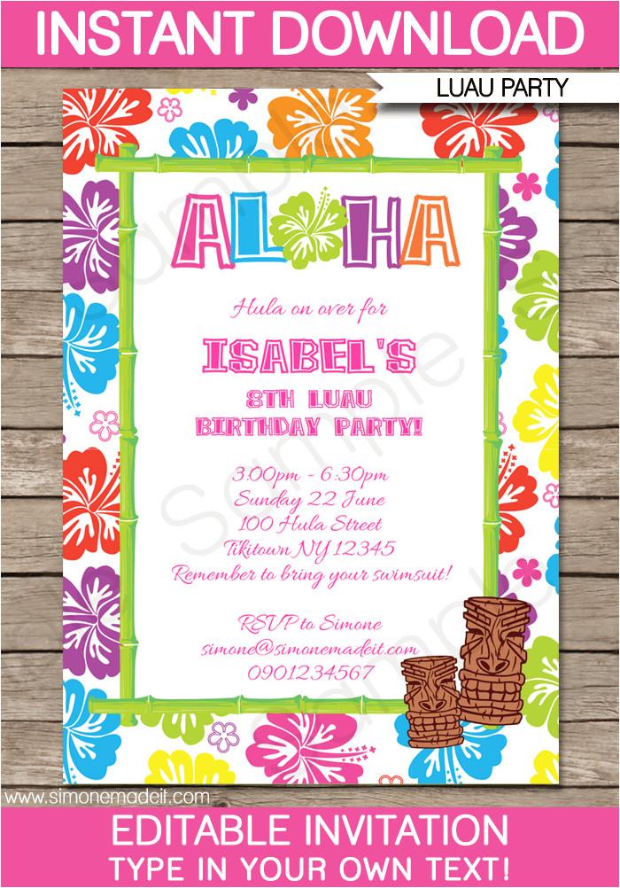 printable luau party invitations template