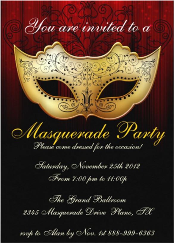 sample masquerade invitation