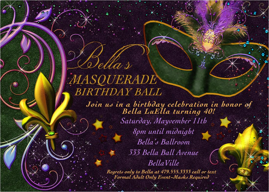 masquerade invitation mardi gras