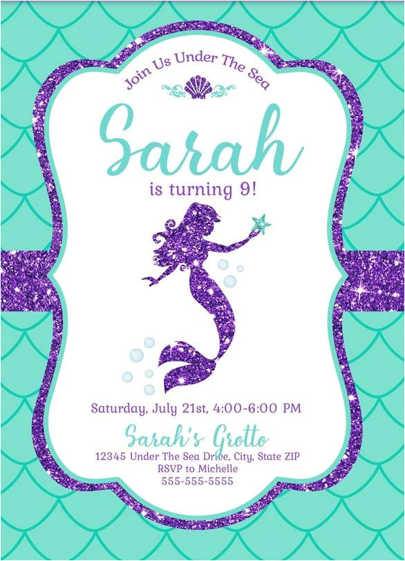free mermaid invitation template for your kids parties
