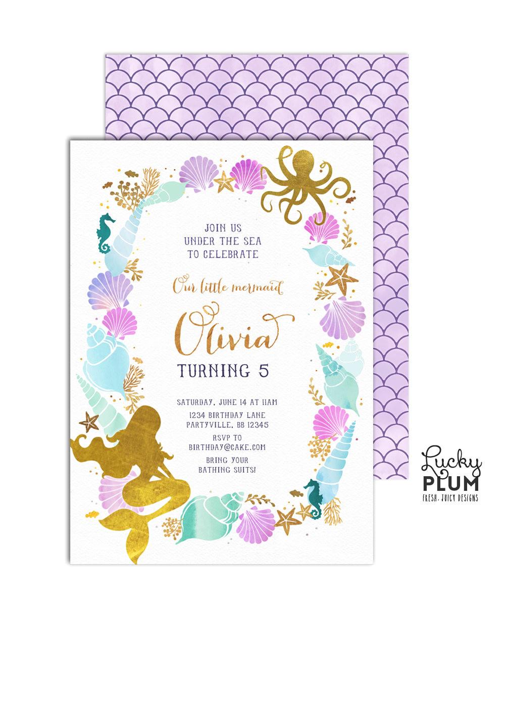 mermaid birthday invitation little
