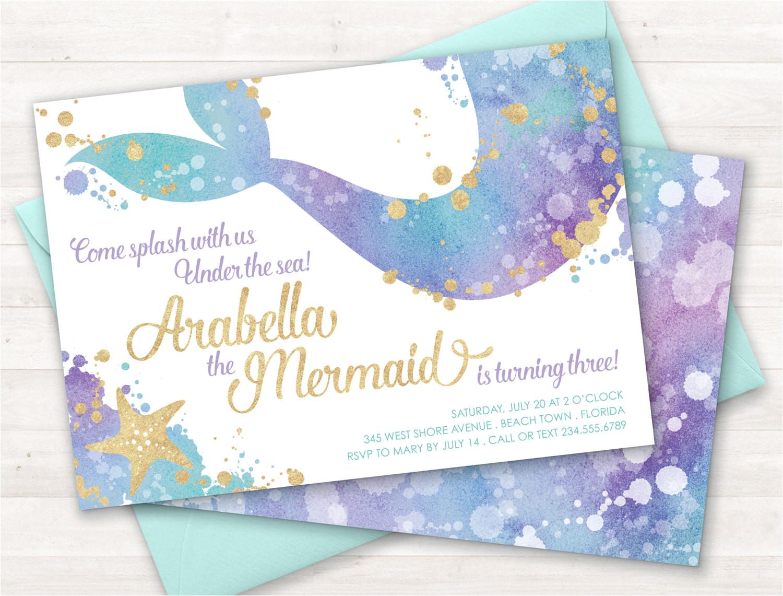mermaid invitation mermaid party invite