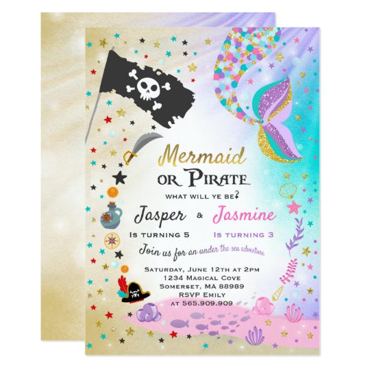 mermaid pirate birthday invitation siblings party 256399053638063690