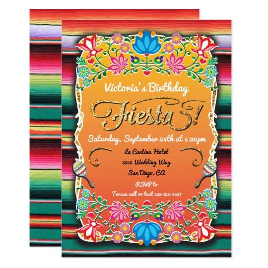 mexican fiesta party gold glitter invitation 256396064073924290