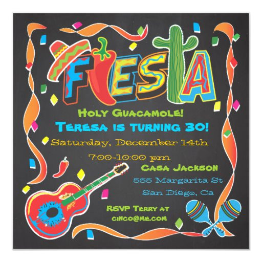 mexican fiesta party invitation on blackboard 161349712361102104