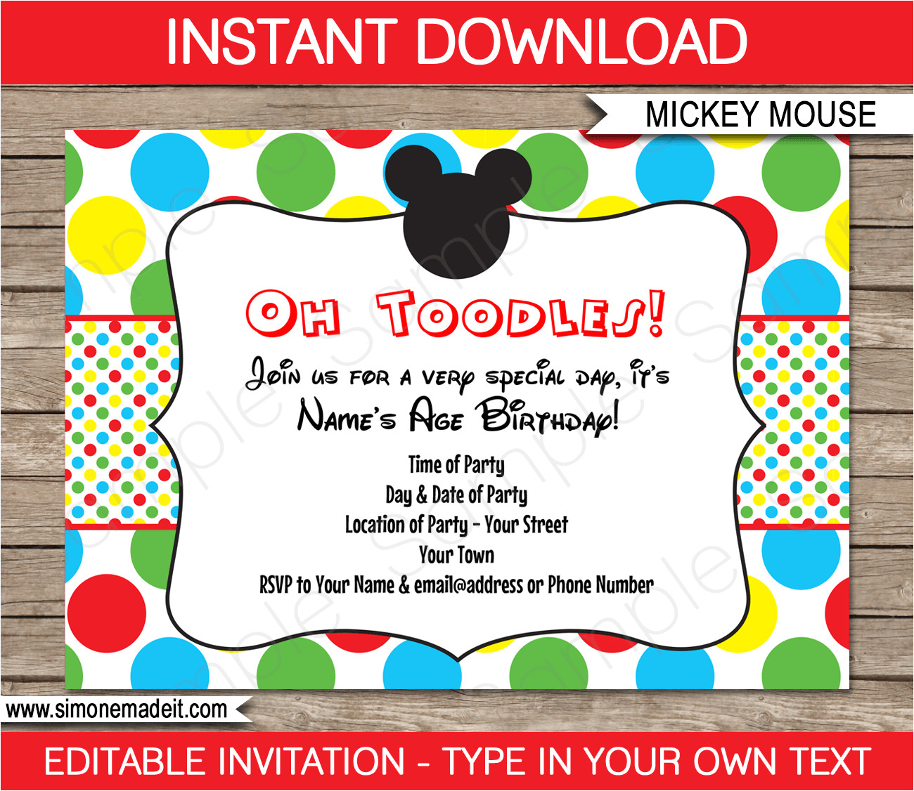 mickey mouse party invitations birthday