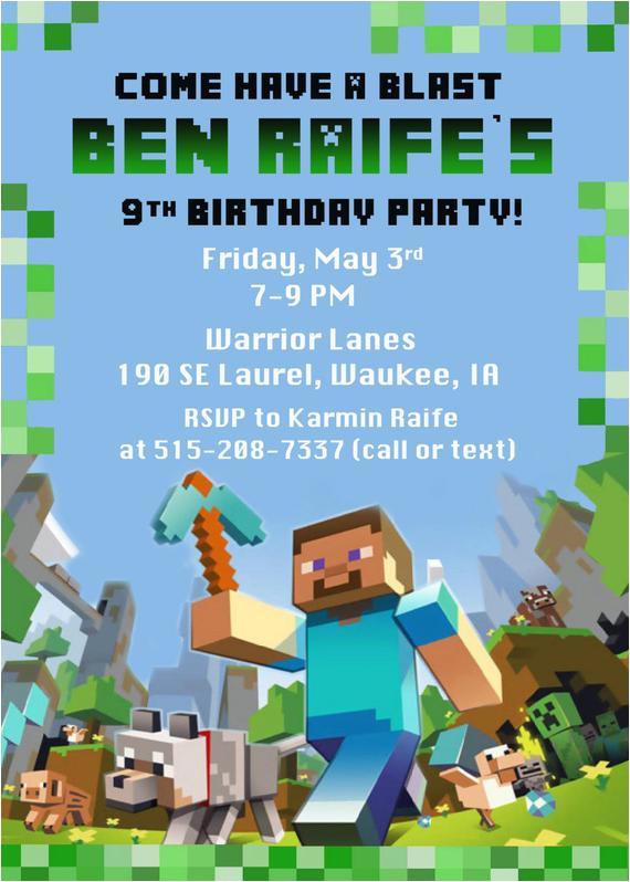 minecraft birthday party invitation