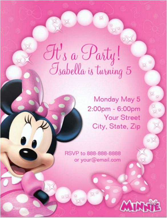 sample of minnie mouse invitation