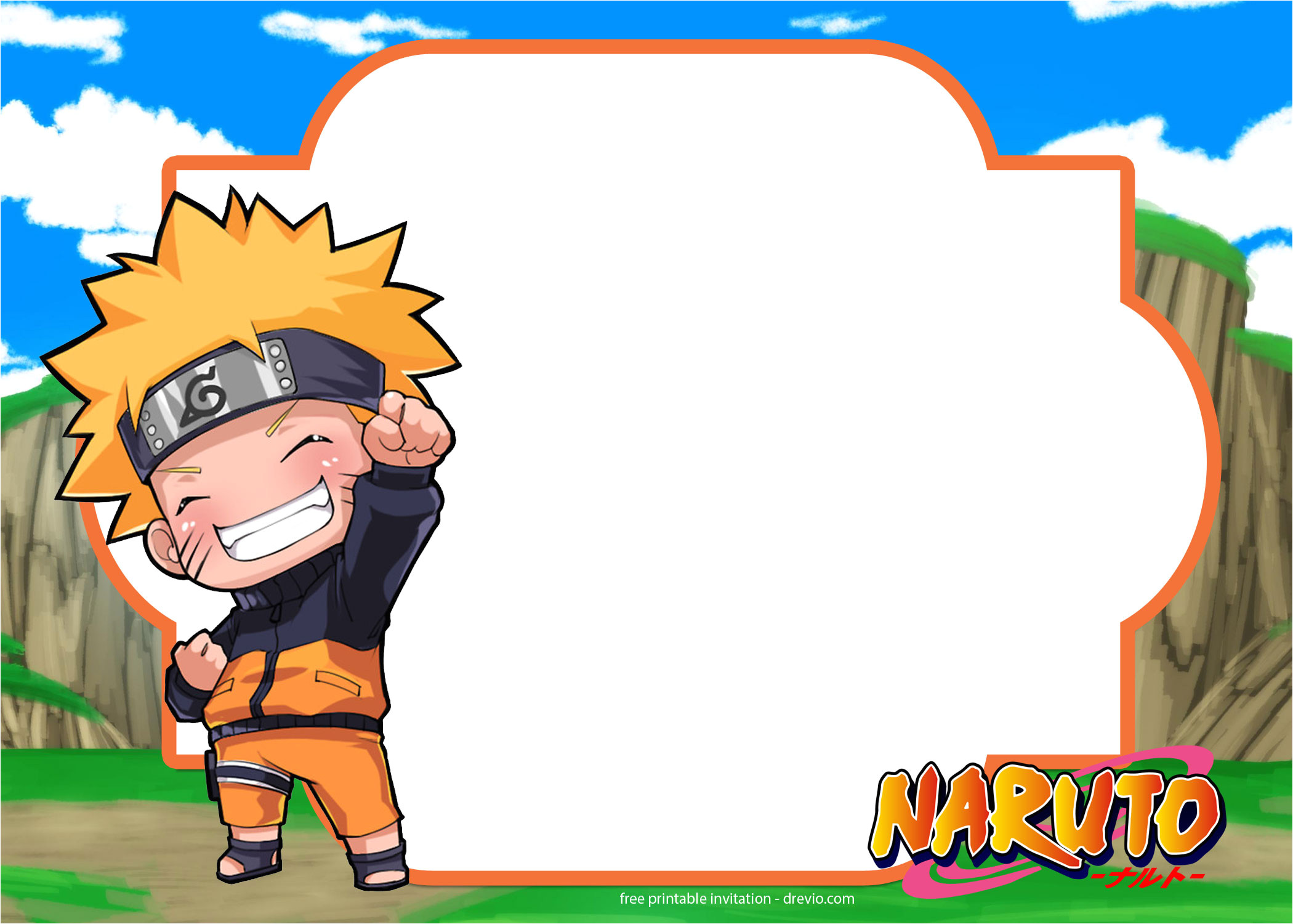 free printable naruto birthday invitation template