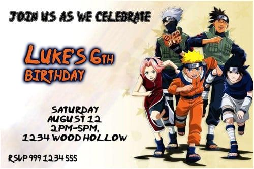 naruto birthday invitations