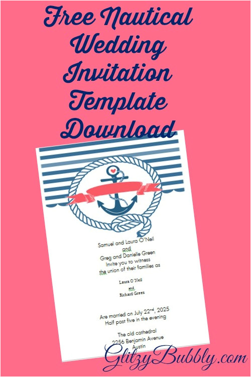free printable nautical wedding invitations