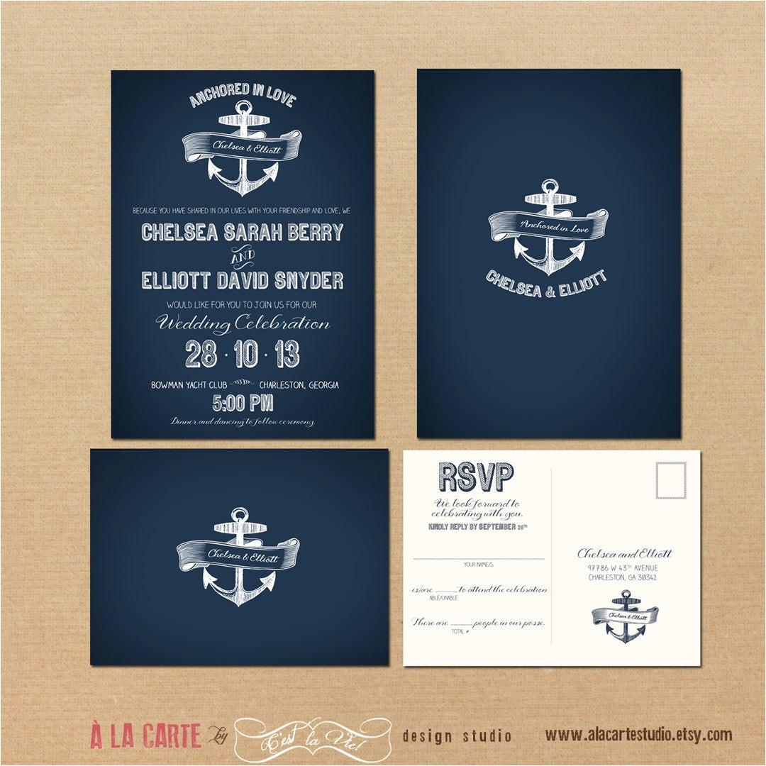nautical anchor wedding invitation and