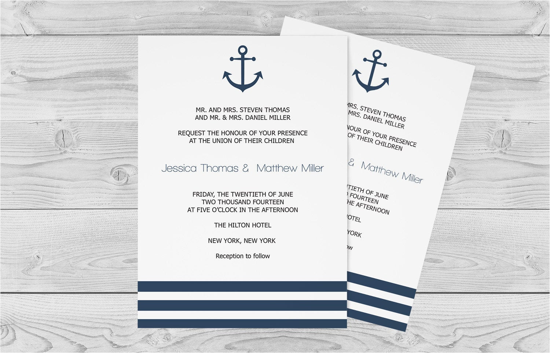 nautical wedding invitation template 5 x