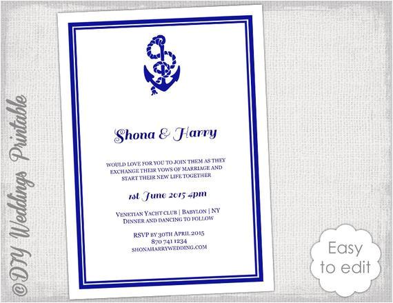 printable nautical wedding invitation